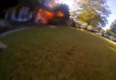 Policjant uratował dwie osoby i psa przed pożarem [wideo]