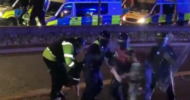 """Policyjny pies rzucił się na policjanta, który zaatakował protestującego. """"Postąpił tak, jak go nauczono""""."""
