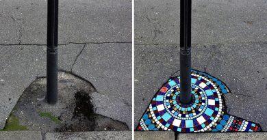 Artysta naprawia dziury i pęknięcia układając piękne mozaiki